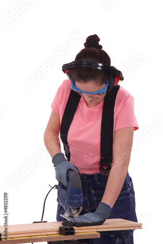 Safety conscious female carpenter