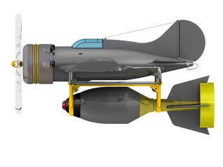 Одномоторный самолёт с авиационной бомбой