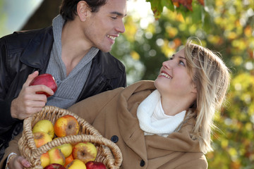 Couple with apple