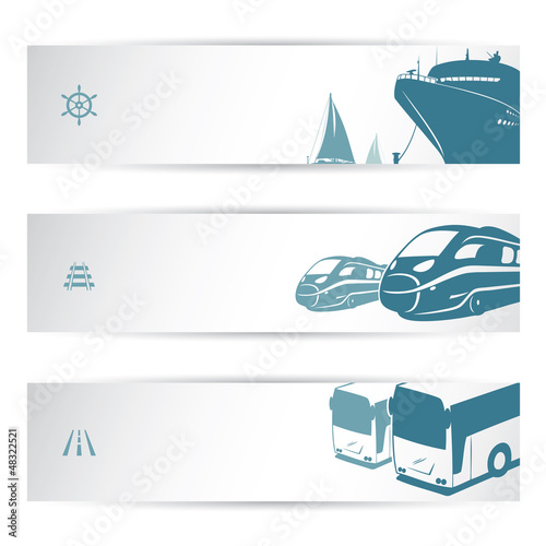 Transportation banner set - isolated
