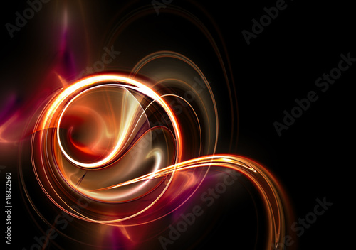 Abstract red swirl on dark background