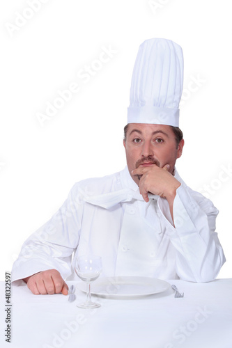 Cook waiting to be served