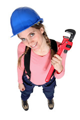 A female plumber