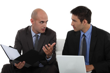 two business colleagues having a discussion