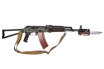 kalashnikov assault rifle aks-74 with bayonet