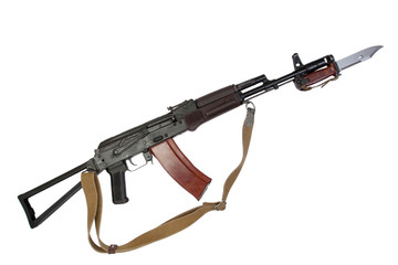 kalashnikov AK para with bayonet isolated on a white background