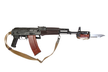 kalashnikov with bayonet isolated on a white background