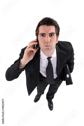 Businessman about to blow his top