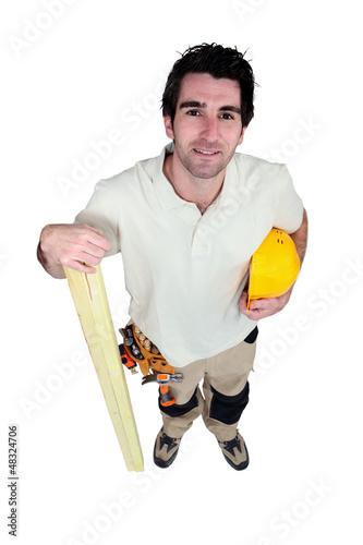 Mason with wood
