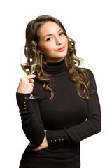 Wine sampling brunette.