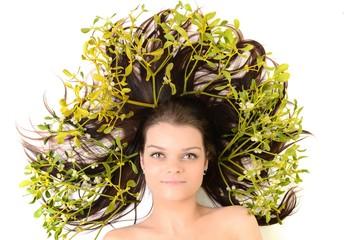 woman with mistletoe