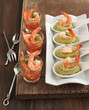 Tomato salsa with shrimp and Avocado cream and shrimp in spoon