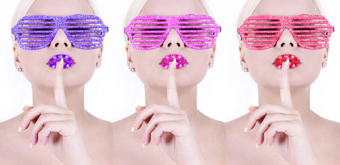 colorful glamour glasses on sexy girls, high fashion look