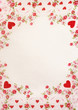 Red hearts classic border with background - 48326765