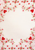 Red hearts classic border with background