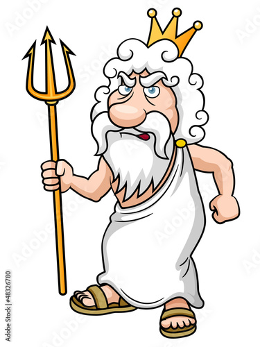 illustration of Cartoon Poseidon with Trident