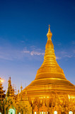 atmosphere of dawn at Shwedagon pagoda in Yagon, Myanmar