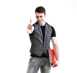 Portrait  successful, happy male student thumb up Isolated