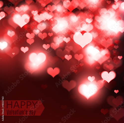 Elegant  red background with hearts and place for text. Valentin