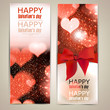 Beautiful greeting cards with red bows and copy space. Valentine