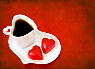Valentine's Day coffee with chocolate hearts