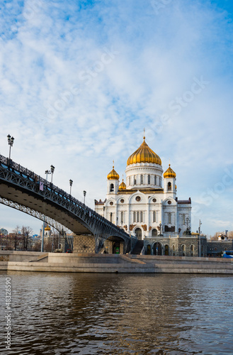 Foto op Plexiglas Kiev Cathedral of Christ the Saviour near Moskva river, Moscow