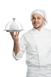 positive chef with cloche lid cover isolated