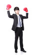 Businessman win pose with boxing gloves