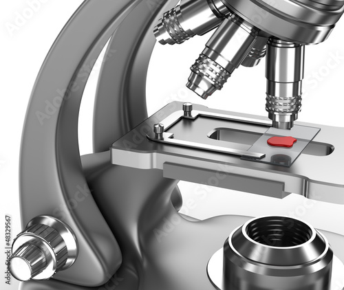 Microscope with a blood sample on a glass slide. 3d image