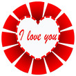 I love you illustration on red sunburst