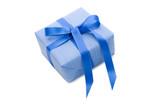 Blaues Geschenk mit Schleife in Blau