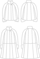 Vector illustration of women's fur coats