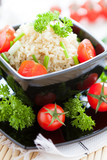 unpolished rice cooked with fresh tomatoes, healthy eating poster