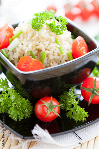 unpolished rice cooked with fresh tomatoes, healthy eating