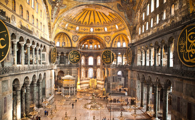 Hagia Sophia Columns and Chandeliers Istanbul Turkey