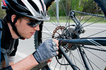 guy - a professional cyclist. breaking the chain