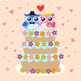 bird bride and groom on wedding card