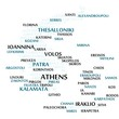 Greece map made from cities with the country name as background