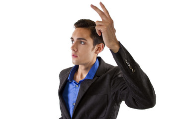 businessman raising hand