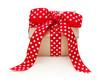 Ein Geschenk in Rot mit weißen Punkten