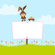 Bunny Pulling Handcart Easter Eggs Label Meadow