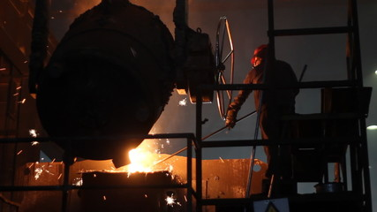 Hard Work In The Foundry, Melting Iron