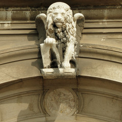 detail of ornamental antique facade with venetian lion