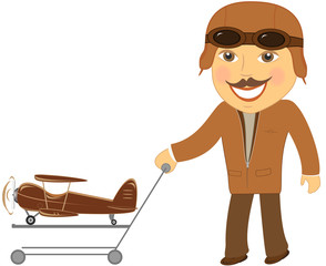 isolated man pilot with cart gift toy plane