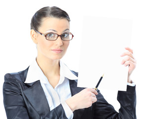 Nice business woman in glasses with a white