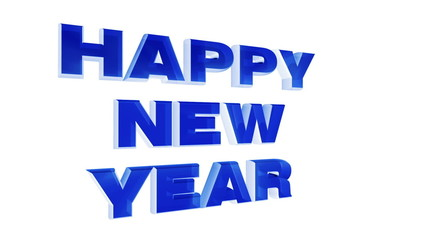 Happy New Year 2014, blue 3d animation with alpha luma