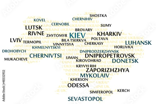 Ukraine map made from cities with the country name