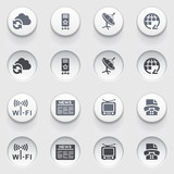 Communication icons on white buttons. Set 1.