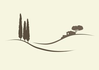 Haus mit Zypressen