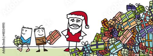 Père Noël qui distribue des cadeaux